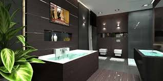 bathroom designs luxurious: luxury penthouse apartment with awesome wooden wall bathroom design with wall lamps and wood combined tile flooring