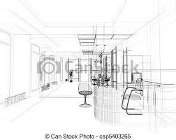 stock illustration office interior art drawing office