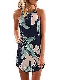 Asvivid Womens Summer Halter Neck <b>Floral</b> Print Sleeveless ...