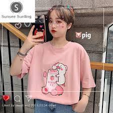 2019 Summer <b>Korean Cute Cartoon Women</b> Tops Loose <b>Female</b> T ...