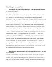 DForeign Policy CASE STUDY THE DEMOCRAT AND THE DICTATOR   In       pages Case Study Jules Ferry docx