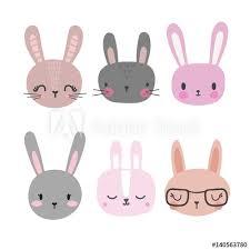 Set of <b>cute</b> rabbits. Funny doodle animals. <b>Little bunny</b> in <b>cartoon</b> style
