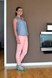 first day of work rachael in real life grey tank top and pink jeans