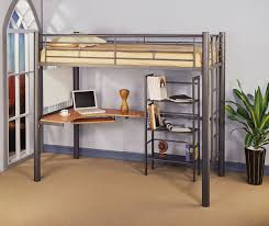 brown wooden loft beds with beautiful combination wood metal furniture