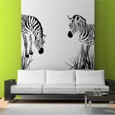 Zebra Living Room Decor Zebra Vinyl Wall Decal Wild Zebra Grass African Wall Art