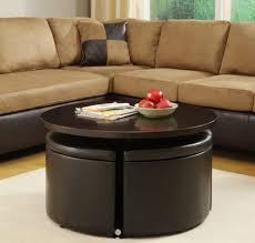 image of modern white ceramic fruit bowl over round wood coffee table with storage also suede brazilian wood furniture