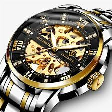 Men's Watch Black <b>Mechanical</b> Stainless Steel Skeleton <b>Waterproof</b> ...