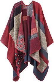 <b>Women</b> Plaid <b>Shawls</b> and Wraps, <b>Winter</b> Poncho Cape, Soft ...