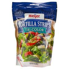 Meijer Tri-<b>Colored</b> Lightly Salted Tortilla <b>Strips</b>, 4 oz Salad Toppings ...