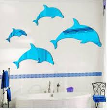 one piece <b>DIY</b> Hot sell 3D <b>Dolphins</b> mirror <b>stickers</b> Acrylic Crystal ...