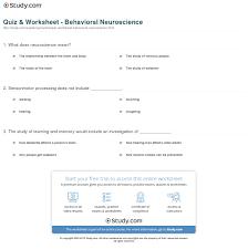 quiz worksheet behavioral neuroscience com print what is behavioral neuroscience worksheet