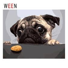 WEEN Dog With Cookie <b>Diy Painting By</b> Numbers Animal Oil ...