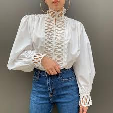 <b>korean women</b> puff sleeve shirts hollow out <b>white cotton</b> shirts lady ...