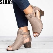 SLHJC Summer <b>Sandals</b> Med Chunky Block Heel Peep Toe Short ...