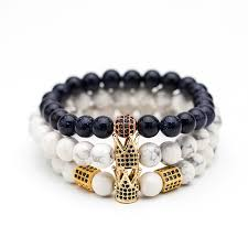 Black & <b>White Natural stone Bead</b> Men's bracelets High quality ...