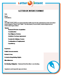 sample business letter of intent