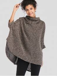 [66% OFF] 2019 Cowl Neck Oversized <b>Poncho Sweater</b> In MULTI ...