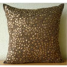 brown throw pillows cover for couch square sequins  beaded