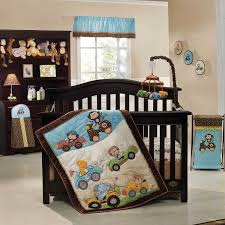 adorable baby crib bedding set with classic dark brown convertible crib plus blue over valance white baby mickey crib set design