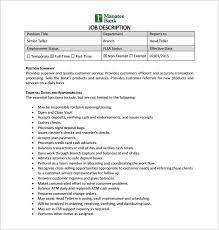 bank teller job description template –   free word  pdf format    senior bank teller job description pdf free download