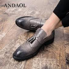 <b>Andaol Men's Leather</b> Casual Shoes Tassel Genuine Cow Leather ...
