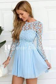 A-line Short Mini Long Sleeve Jewel <b>Pleats Ruching Chiffon</b> Lace ...