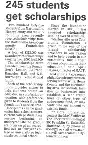 press releases martinsville area community foundation students receive scholarships