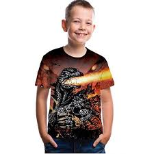 Godzilla Kids T-Shirt boy Girl 3D Printing Godzilla ... - Amazon.com