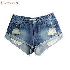 CHAMSGEND <b>Denim Shorts Women</b> Vintage Ripped <b>Hole</b> Fringe ...