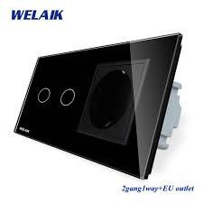 Online Shop WELAIK 2Frame-Crystal Glass-Panel <b>Wall</b>-<b>Switch</b>-<b>EU</b> ...