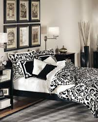cool black and white bedroom decor with grey plaid rug plus wall art paintings black white bedroom cool