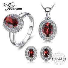 2019 <b>JewelryPalace</b> Classic 4.5ct <b>Genuine Red Garnet</b> Halo Ring ...