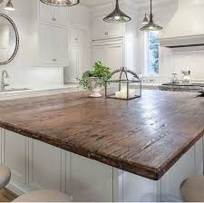 countertops dark wood kitchen islands table: dark in reclaimed wood is okay wont show scratches and scuffs as much but hard to keep sanitary id think just the big island in this timber only