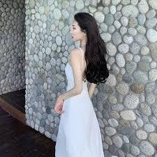 <b>Korean style women</b> ladies summer sexy backless <b>shoulder</b> strap ...