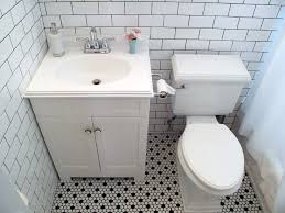 black and white tile bathroom floor
