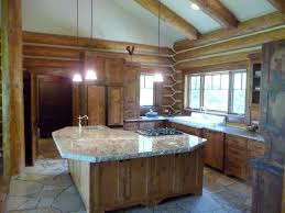image of log cabin kitchens with white cabinets cabin lighting ideas