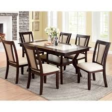 seven piece dining set: furniture of america kateria dark cherry  piece dining set