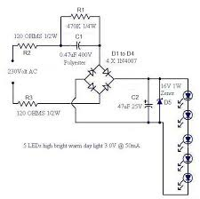 a simple led lamp circuit from scrap uses 5 led and takes only 50 ma circuit diagram seetharaman s