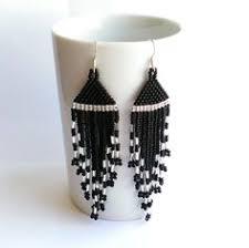 Long <b>Seed Bead</b> Dangle Black And <b>Silver</b> Earrings With от Galiga ...