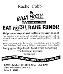 raise the woof 4 rachel they re here baja fresh fundraiser flyers to dine in or take out please print off this photo and bring it you the flyer must be presented at time of order so we ll get the 15% donation
