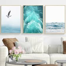 <b>Gohipang Blue Sea And</b> Sky Nordic Landscape Canvas Painting ...