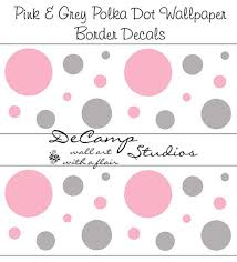 pink and grey polka dot wallpaper wall art border decals for baby girl nursery or childrens baby nursery ba room wallpaper border