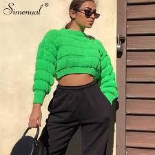 <b>Simenual</b> Turtleneck Ruffles <b>Knitted Sweaters</b> Women Fashion Long ...