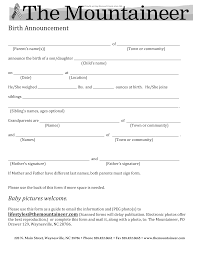 doc birth announcement letter baby book keepsake letter forms the mountaineer birth announcement letter