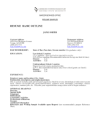 outline resume info resume outline sample sample of a resume for a job sample job