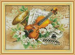 Flowers and the <b>violin</b> Printed on Canvas DMC Counted <b>Chinese</b> ...