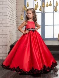 Red <b>Embroidered</b> Ballgown Satin <b>Flower Girl Dress</b> yh0021 by Ritoot