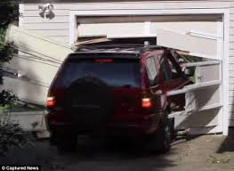 Image result for crashed in garage doors