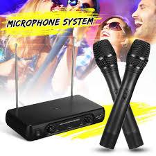 Dual Professional VHF <b>Wireless Microphone</b> System <b>Cordless</b> ...