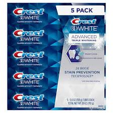 Crest <b>3D White</b> Advanced Triple Whitening Toothpaste 5-pack